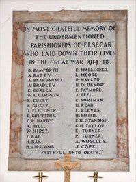 WW1 Memorial Panel, Elsecar Church, South Yorkshire, UK - World War I Memorials and Monuments on Waymarking.com
