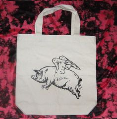 Flying Pig  Double Sided Print Canvas Tote Hand Bag by lastearth, $11.00