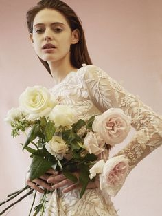 Bespoke, hand-embroidered bridal gown with long sleeves. Hermione, Bridal Gowns, Wedding Gowns, Pink Blossom, Floral Embroidery, Bridal Style, Wedding Bouquets, Dress Outfits, Marie