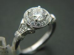 Gabriel and Co Diamond 14K White Gold Halo Antique Vintage Victorian Engagement  Ring Style ER7478W44JJ - We Sell Unique Rings on Etsy, $2,225.00