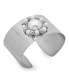 Love this Stainless Steel & Faux Pearl Cuff on #zulily! #zulilyfinds