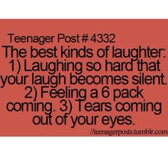 Yes! You know I'm laughing hard when tears come out of my eyes! :)