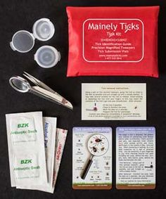 Contents of Tick Removal Kit by Mainely Ticks  -  everything needed to remove a tick in a handy kit.   lj