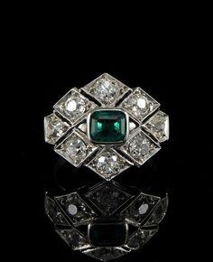 STUNNING ART DECO .85 CT COLOMBIAN EMERALD 2.20 CT OLD MINE DIAMOND RARE RING!   eBay