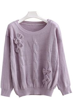 Bowknot Embellished Cable Sweater OASAP.com
