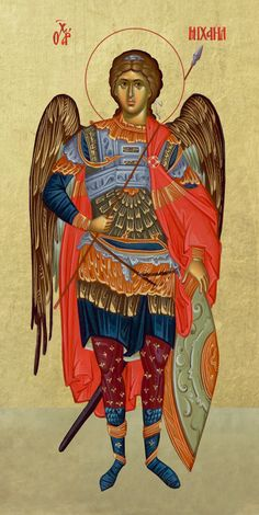 Αρχάγγελος Μιχαήλ / Archangel Michael Religious Icons, Religious Art, Religious Images, Byzantine Icons, Byzantine Art, Archangel Michael Tattoo, Monastery Icons, Icon Tattoo, Angel Sculpture