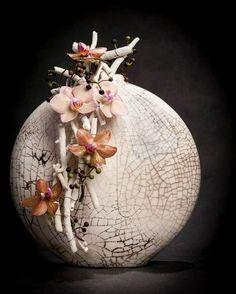 Floral Design - Orchids and Raku (Unknown designer)