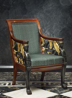 One of a superb set of four Russian Empire parcel-gilt mahogany open fauteuils Saint-Petersburg, date circa 1820