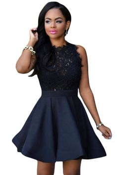 Lace top and flare trendy skater skirt - Beautiful lace top; trendy skater style skirt - Full Back zipper - Machine wah cold, hang to dry - Sizes XS (US S (US M (US L (US XL Dresses For Less, Casual Dresses, Short Dresses, Skirt Fashion, Fashion Dresses, Fashion Styles, Dress Outfits, Black Lace Tops, White Lace