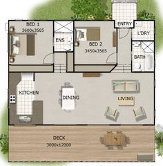 Granny pods in laws Resultado de image - grannypods Split Level House Plans, Small House Floor Plans, Small Tiny House, Cottage Floor Plans, Cottage Plan, Small House Design, 2 Bed House, 2 Bedroom House Plans, Shed House Plans