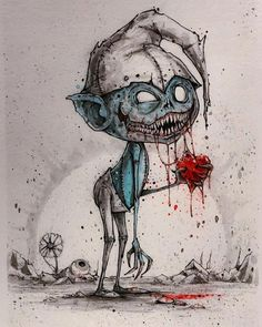 Zombie smurf - inktober 2018 - original art in 2019 products Zombie Kunst, Art Zombie, Scary Drawings, Dark Art Drawings, Arte Horror, Horror Art, Fantasy Kunst, Fantasy Art, Art Sinistre