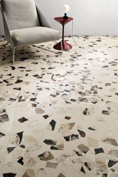 Such an interesting and unique tile range, Garrison really stands apart from the more typical natural effect tiles that we usually showcase. We love the oversized terrazzo style chips that seem to be embedded in the surface of the tiles. Contemporary Interior Design, Home Interior Design, Interior And Exterior, Floor Design, Tile Design, House Design, Terrazzo Flooring, Concrete Floors, Interior Design Requirements