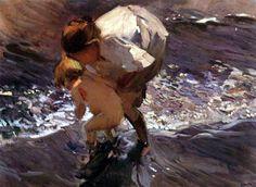 Jugando en el agua - Joaquín Sorolla y Bastida - como impresión ...