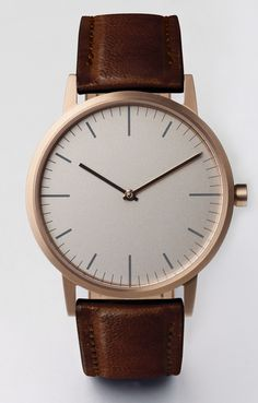 Uniform Wares 152 Series PVD Rose Gold with walnut cashmere leather strap. The coolest watch you can buckle into right now.