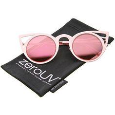 ab134f7069 Womens Fashion Round Metal Cut-Out Flash Mirror Lens Cat Eye Sunglasses