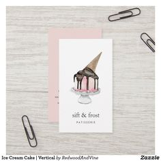 Ice Cream Cake   Vertical Business Card Business Cards Layout, Vertical Business Cards, Gold Business Card, Letterpress Business Cards, Free Business Card Templates, Elegant Business Cards, Free Business Cards, Business Card Design, Chocolate Ice Cream Cone