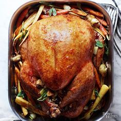Learning how to brine is the simple secret to serving a moist, tender turkey (plus, it enhances the bird's flavor). For most turkey brine recipes, start with a stir-together saltwater solution and be sure to plan ahead, since/