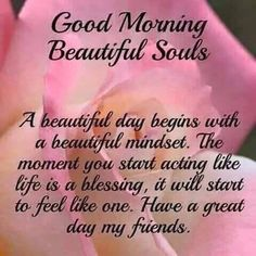 Good Morning Beautiful Souls  A beautiful day begins with a beautiful mindset. The moment you start acting like life is a blessing, it will start to feel like one. Have a great day my friends.