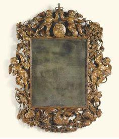 Charles II carved limewood wall mirror, ca. 1680