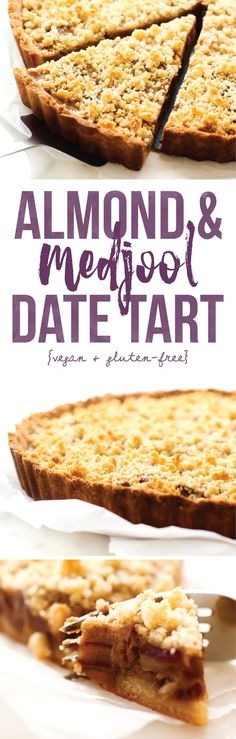 & Medjool Date Tart Almond & Medjool Date Tart {vegan, gluten-free, oil-free}.Almond & Medjool Date Tart {vegan, gluten-free, oil-free}. Dessert Sans Gluten, Vegan Dessert Recipes, Tart Recipes, Gluten Free Desserts, Gluten Free Recipes, Sweet Recipes, Baking Recipes, Fruit Recipes, Vegetarian Recipes