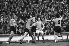 John Richards celebrates with Kenny Hibbitt as Derek Parkin watches on during the 1974 League Cup final