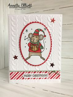 handmade Christmas card from AEstamps a Latte... caroling mouse ... like the basic layout ... layered oval  ... Stampin' Up!