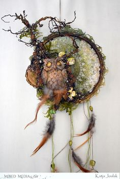 Mixed Media & Art: Mystic Dreams – Inspiration from Katja Joulak Mixed Media & Art: Mystic Dreams – Inspiration from Katja Joulak Nature Crafts, Fun Crafts, Diy And Crafts, Mixed Media Canvas, Mixed Media Art, Mix Media, Dream Catcher Decor, Owl Dream Catcher, Dreamcatchers