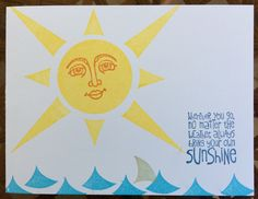 Ray of Sunshine stamp set by Stampin' Up! Sun, waves, shark fin, beach.  Card by Beverly Stewart.