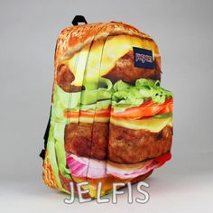 Hamburger Burger Backpack Book Bag School Cheeseburger Food Print ...
