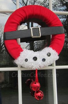 Craft a jolly Santa Wreath, and more ideas for Santa crafts Find more #christmas ideas at https://www.facebook.com/WestTremontHolidayMarket