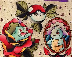 Pokemon Squirtle Bulbasaur pokeball traditional tattoo