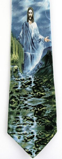 Jesus Walk On Water Mens Necktie Religious Christian Miracle Gift Black Neck Tie #StevenHarris #NeckTie