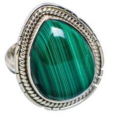 Malachite 925 Sterling Silver Ring Size 7.25 RING700288
