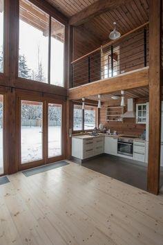 "Дом из клееного бруса ""Скандинавия-130"" | Лучший деревянный дом Cabin Style Homes, Wooden House, House In The Woods, Stairways, My Dream Home, Planer, Rustic Decor, Room Decor, Indoor"