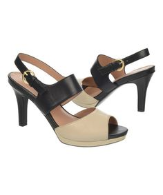 Another great find on #zulily! Black & Ivory Nebula Leather Sandal #zulilyfinds