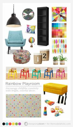 Create a colorful and fun kid's room with this inspiration and 3 easy tips for a rainbow playroom that's just the right blend of color and style.