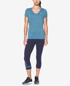 Under Armour Ua Tech™ Twist V-neck Tee In Bayou Blue / / Metallic Silver Under Armour, Silver Logo, V Neck Tee, Short Sleeves, Sporty, Pullover, Ua, Tees, Activewear
