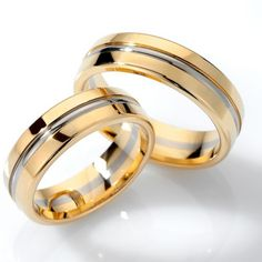 Two Tone Yellow-white-yellow Gold Polish Low Dome Grooved Matching Wedding Bands 02120 Matching Wedding Bands, Custom Wedding Rings, Wedding Matches, Wedding Rings For Women, Wedding Men, Wedding Ring Bands, Wedding Unique, Wedding Songs, Wedding Ideas
