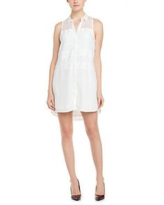 The Addison Story White Mesh & Faux Leather Trim Dress