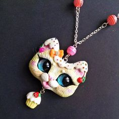 Frosting Kitty - Cute Kawaii Cat Pendant With Colorful Decorations Beads And Cupcake Charm OOAK Polymer Clay Jewelry by FleurDeLapin
