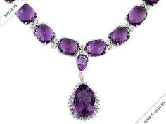 Women's Diamond & Amethyst Necklace in 14K White Gold (99.90 ctw)