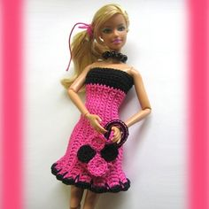 Handmade crocheted hot pink dress and bag for Barbie doll#RDB