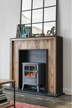 Buy Jefferson Fireplace Surround from the Next UK online shop Rustic Fireplaces, Fireplace Mantels, Fireplace Ideas, Freestanding Electric Fire, Fireplace Heater, Sunroom Decorating, Fire Surround, Bed Lights, Hidden Storage