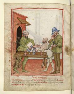 1390-1400.Tacuinum sanitatis, Milano or Pavie (Italy), Marchand de vin. (Wine merchant)  Nouvelle acquisition latine 1673, fol. 76v,
