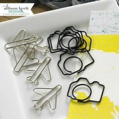 Webster's Pages Recorded Decorative  Paper Clips Plane & Camera