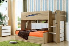 Kids timber bunk bed with stairs Acacia Bunk Single-Double, Bunk Beds