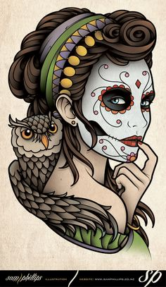 Dia de Muertos Owl Tattoo by Sam-Phillips-NZ on DeviantArt Sugar Skull Mädchen, Sugar Skull Tattoos, Day Of The Dead Girl, Day Of The Dead Skull, Tattoo Mexicana, Desenho Tom E Jerry, Tatto Old, Tattoo Crane, Los Muertos Tattoo