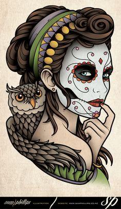 Dia de Muertos Owl Tattoo by Sam-Phillips-NZ.deviantart.com