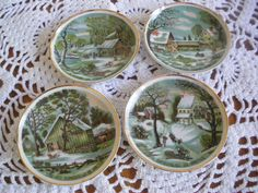 Vintage Currier and Ives Collectible Plates by GotMilkGlassAndMore, $9.95