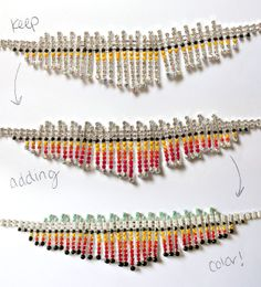 "Painted costume jewelry  Use nail polish or sharpie    ""You don't need much [nail] color on the brush, just enough so it paints a drop of color without dripping off the sides of the necklace."""